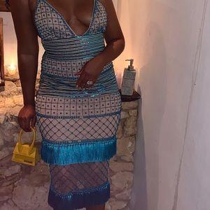 peace + love blue beaded tassel midi dress